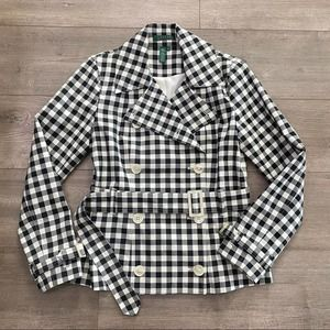 Ralph Lauren Buffalo Plaid Checked Belted Jacket